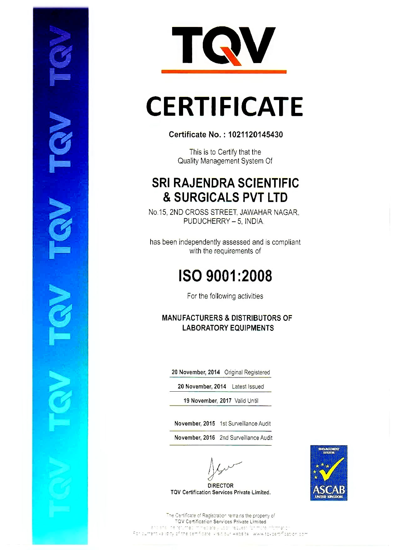 Tqv sri rajendra scientific and surgicals pvt limited tqv certificate xflitez Image collections